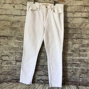 Gap 28R True Skinny Ankle White Fringe Hem Jeans